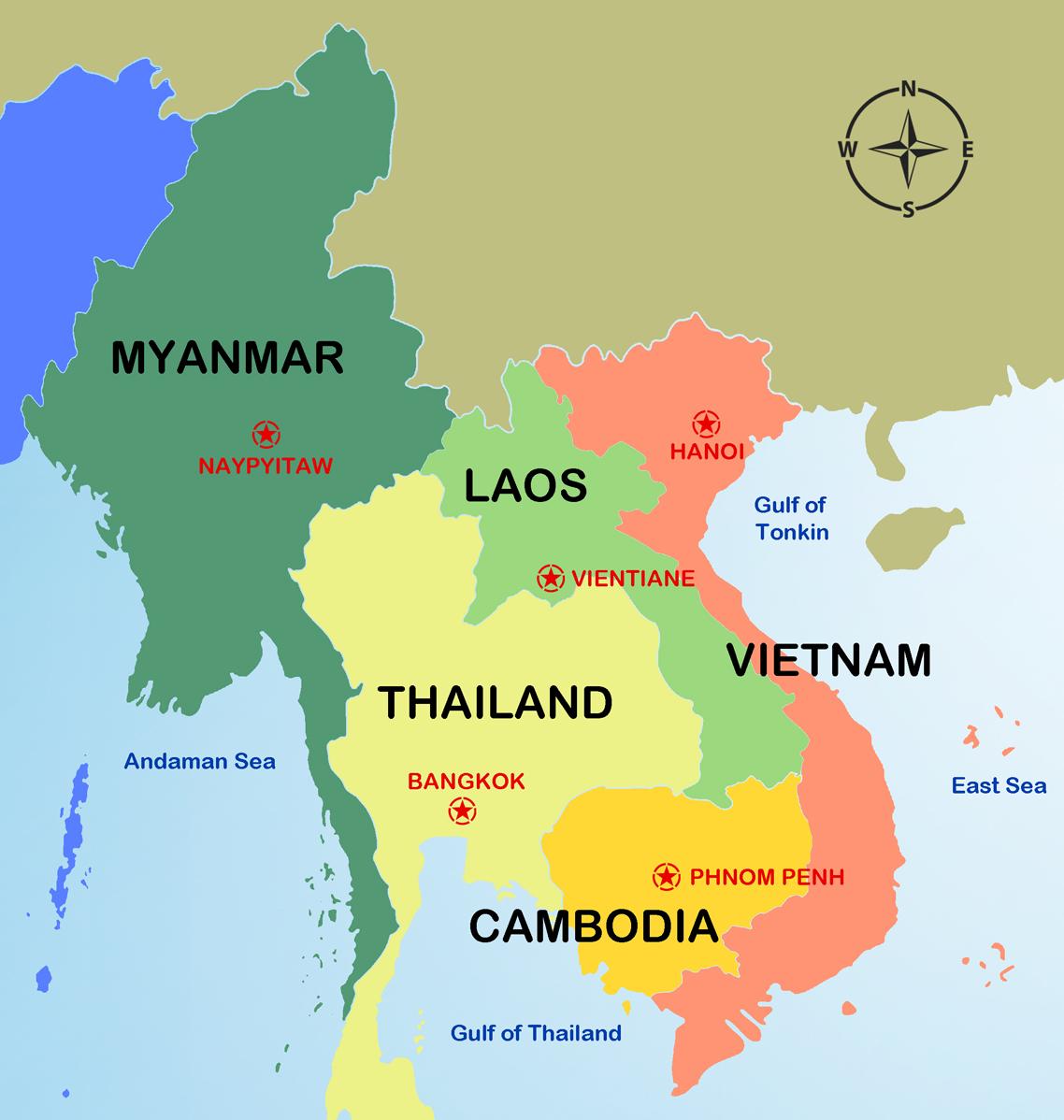 cambodia and laos map Multi Country Vietnam Cambodia Lao Myanmar Tours cambodia and laos map